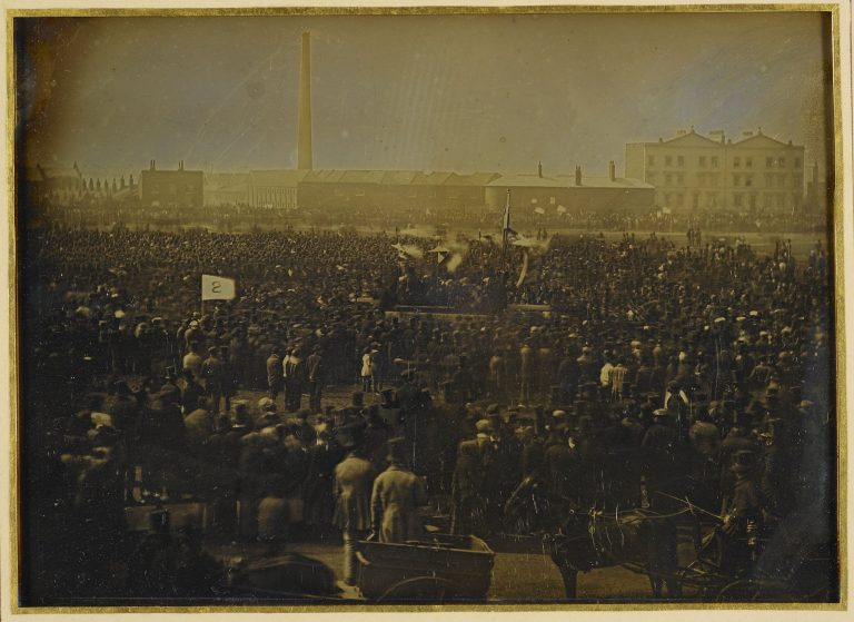 Daguerreotype of Chartist protest at Kennington Common, 1848. Royal Collection Trust / © Her Majesty Queen Elizabeth II 2020