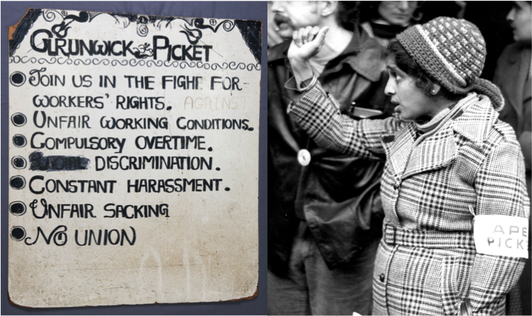 Left to right Grunwick picket board, 1976 and Jayaben Desai © People's History Museum