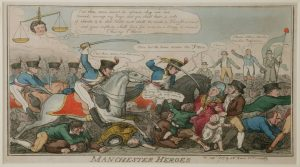 Manchester Heroes print by George Cruikshank, September 1819, on display in Main Gallery One at People's History Museum, Manchester