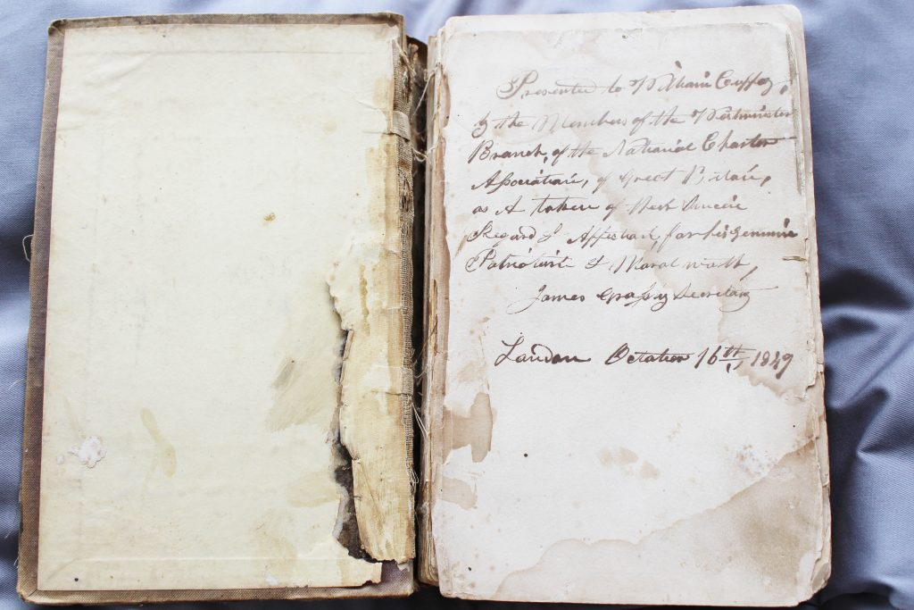 The poetical works of Lord Byron (inside cover), owned by William Cuffay © People's History Museum