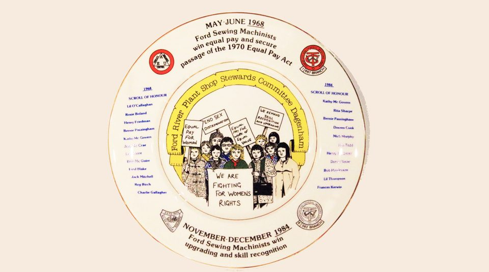 Dagenham Ford sewing machinists strike and Equal Pay Act commemorative plate, around 1984 © People's History Museum