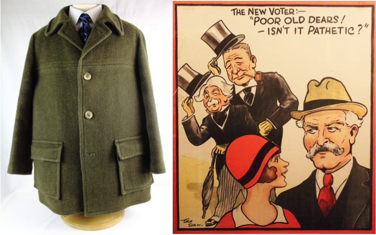 Left to right Michael Foot's coat, 1981 and The New Voter poster, by Em Shaw, 1929 © People's History Museum
