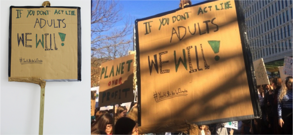 Left to right 'There Is No Planet B' placard (reverse) and placard at schools strike for climate, Manchester, 15 February 2019 © People's History Museum