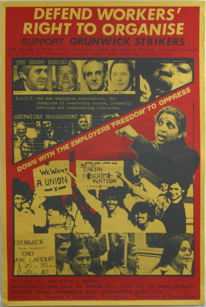 Defend Workers' Right to Organise, Grunwick strike poster, the Poster Collective, around 1977 © the Poster Collective