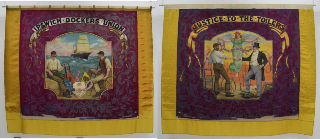 Left and right: Ipswich Dockers Union banner, 1890s © People's History Museum