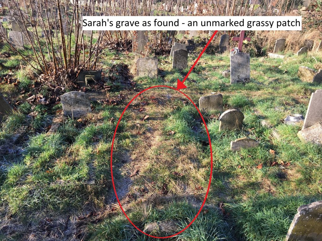 Sarah's grave as found – an unmarked grassy patch courtesy of Sam Johnson