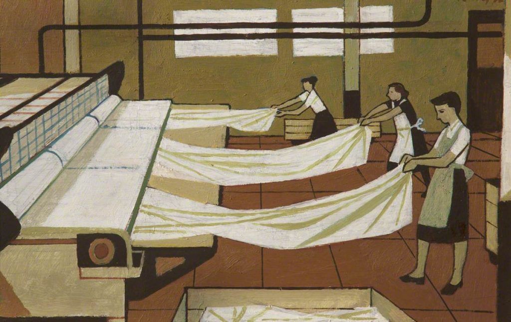 Hospital Laundry Workers painting by Cliff Rowe, date unknown © People's History Museum