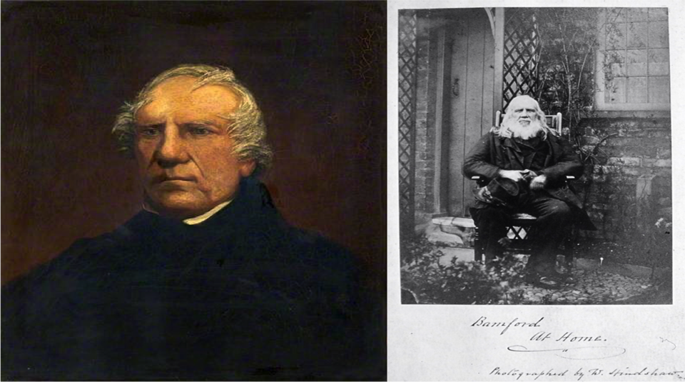 Left to right: Samuel Bamford painting, date unknown, courtesy of Rochdale Arts & Heritage and Bamford at Home in Moston, 1869, photographed by William Hindshaw, courtesy of Manchester Central Library