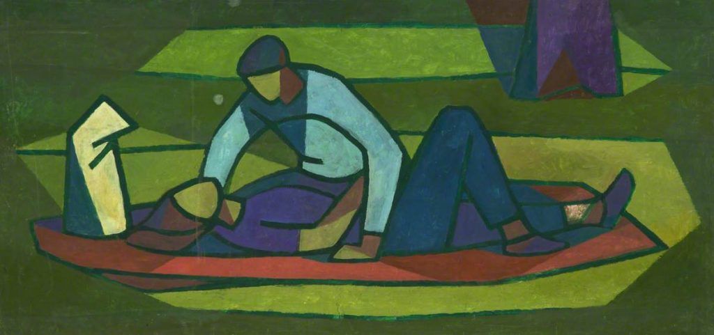Man Leaning Over Woman painting by Cliff Rowe, date unknown © People's History Museum