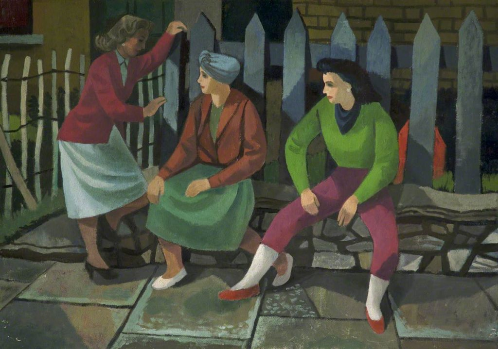 Three Women Talking painting by Cliff Rowe, date unknown © People's History Museum