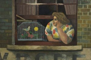 Woman with Birdcage in Window painting by Cliff Rowe , 1931 © People's History Museum