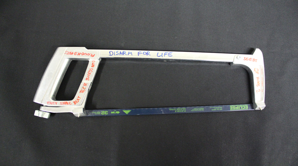 A hacksaw from a failed attempt at disarming war planes, 2020 © People's History Museum