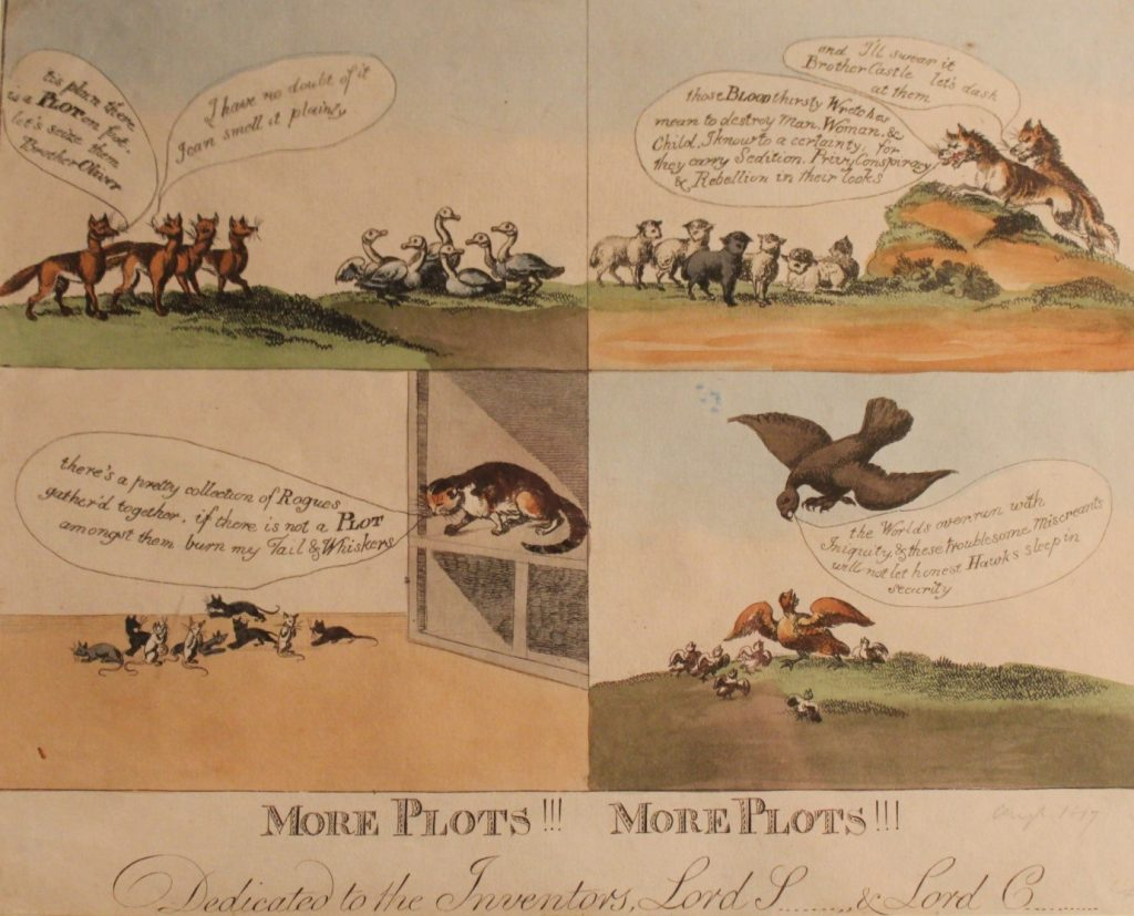 More Plots!!! More Plots!!! Dedicated to the Inventors, Lord S & Lord C , illustration published by SW Fores, 1817 © People's History Museum