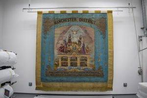 Amalgamated Society of Engineers (ASE), Machinists, Millwrights, Smiths and Pattern Makers, Manchester Branch banner, around 1910 © People's History Museum