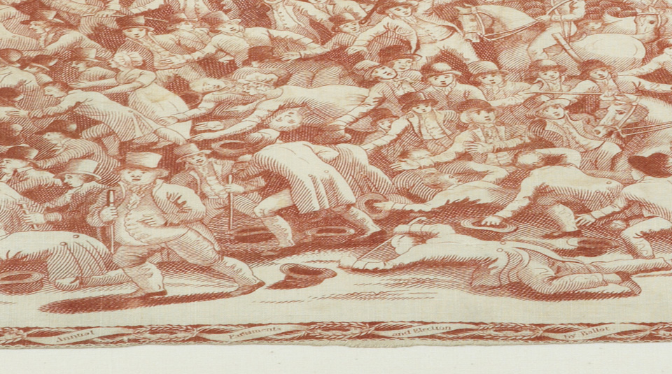Canes, detail from Peterloo commemorative handkerchief, around 1819 © People's History Museum