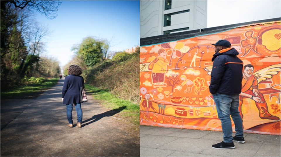 14 November 2020 – 31 October 2021, #WELCOME exhibition @ People's History Museum. Left to right Lorenza & Owen, photographs by Caira Leeming