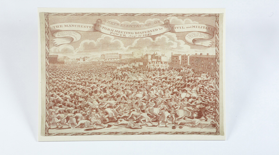 People with canes included on depiction of the Peterloo Massacre on commemorative handkerchief, around 1819 @ People's History Museum