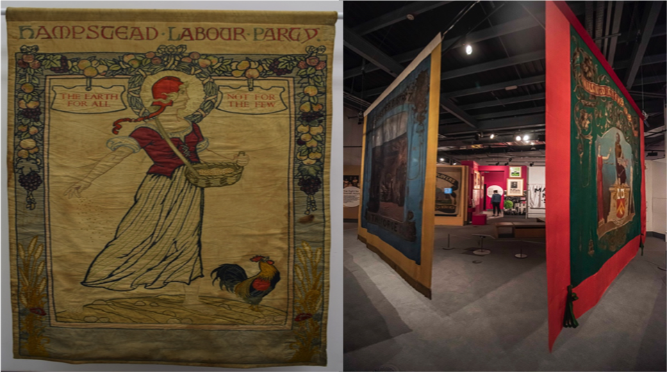 Left to right Hampstead Labour Party banner, around 1920 and 2020 2021 Banner Exhibition at People's History Museum