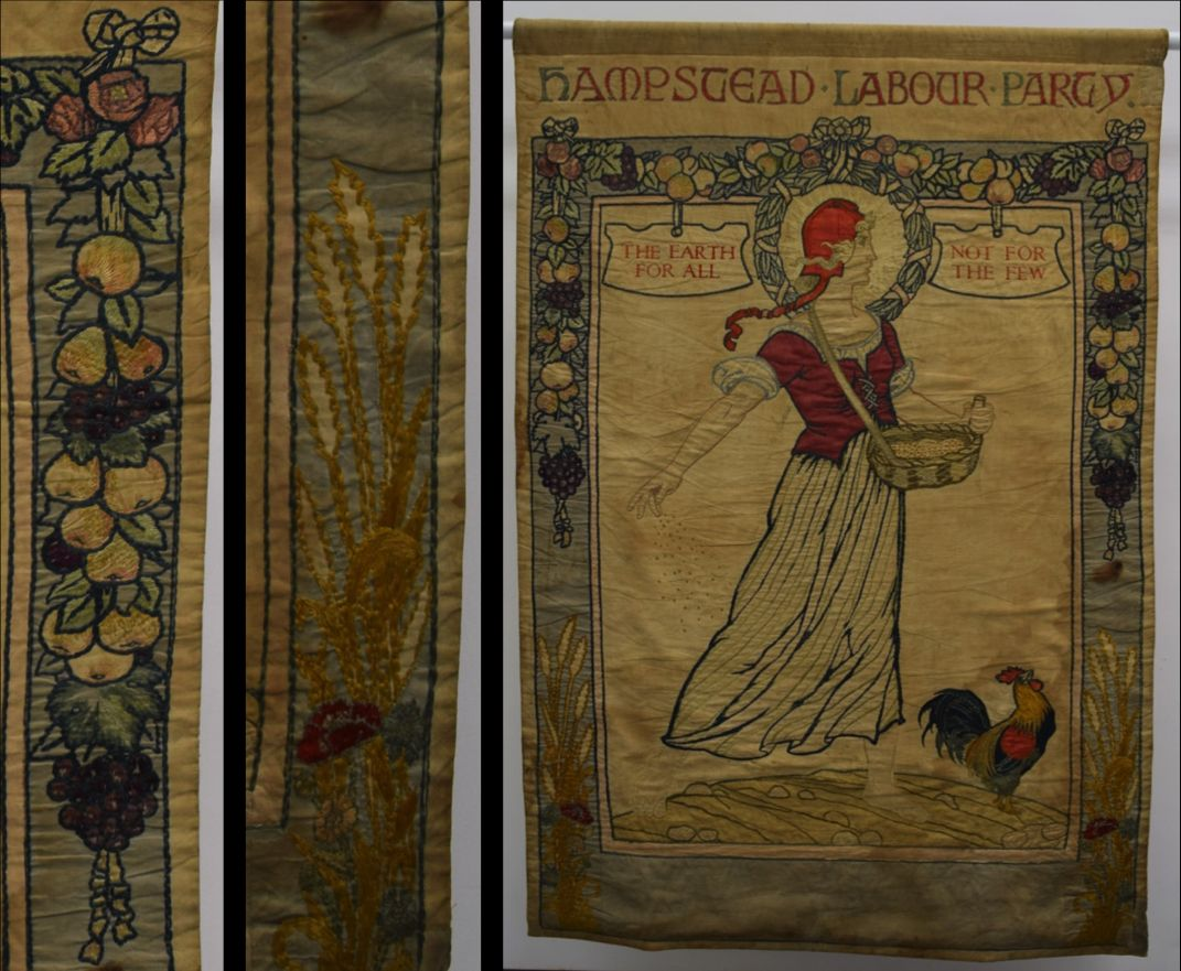 Left to right, details of the Hampstead Labour Party banner's borders, showing the corn unfinished and Hampstead Labour Party Banner, around 1920 at People's History Museum