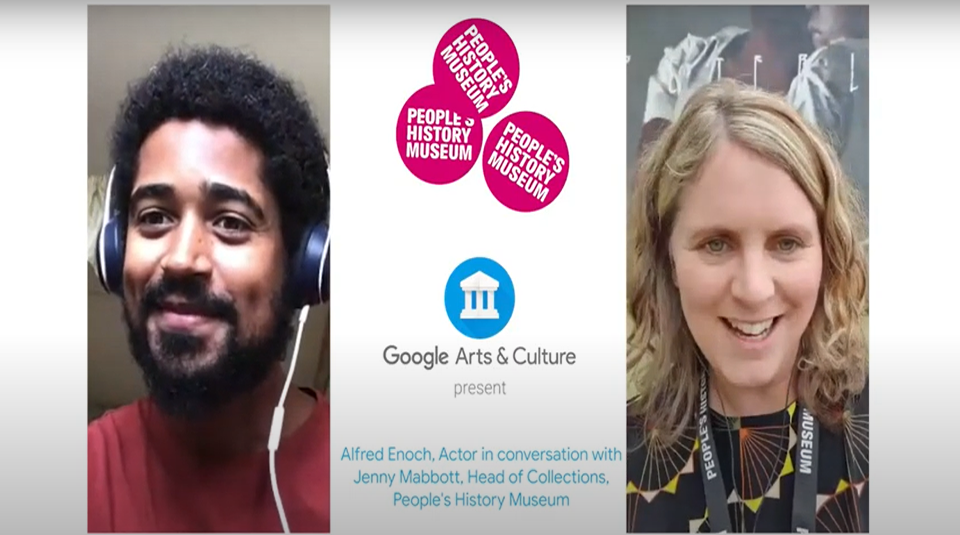 Left to right Alfred Enoch and PHM's Jenny Mabbott virtual Google Art for Two tour at People's History Museum