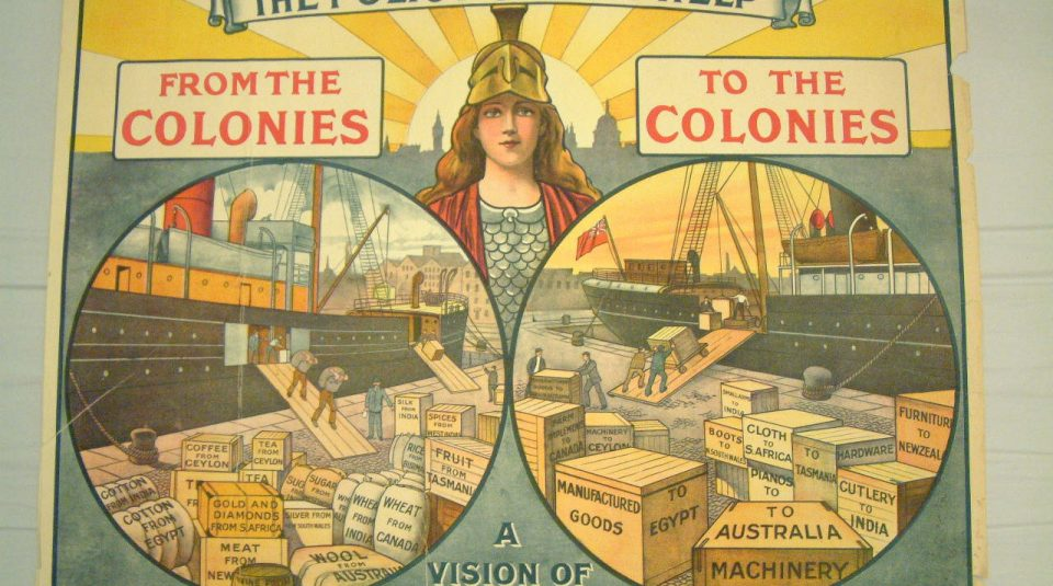 11 February 2021, Migration, Race & Empire LGBT+ histories tour, OUTing the Past Festival with People's History Museum. Conservative Party Poster 'The Policy Of Self Help, From The Colonies, To The Colonies', 1910