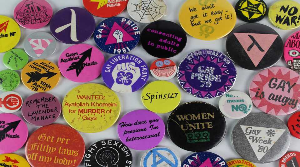 11 February 2021, OUTing the Past Festival with People's History Museum. LGBT+ badge collection © People's History Museum