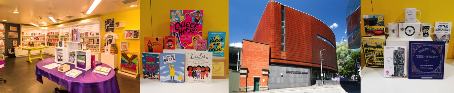 Left to right PHM shop, Kid's Christmas gifts ideas, People's History Museum exterior and Manchester themed gifts