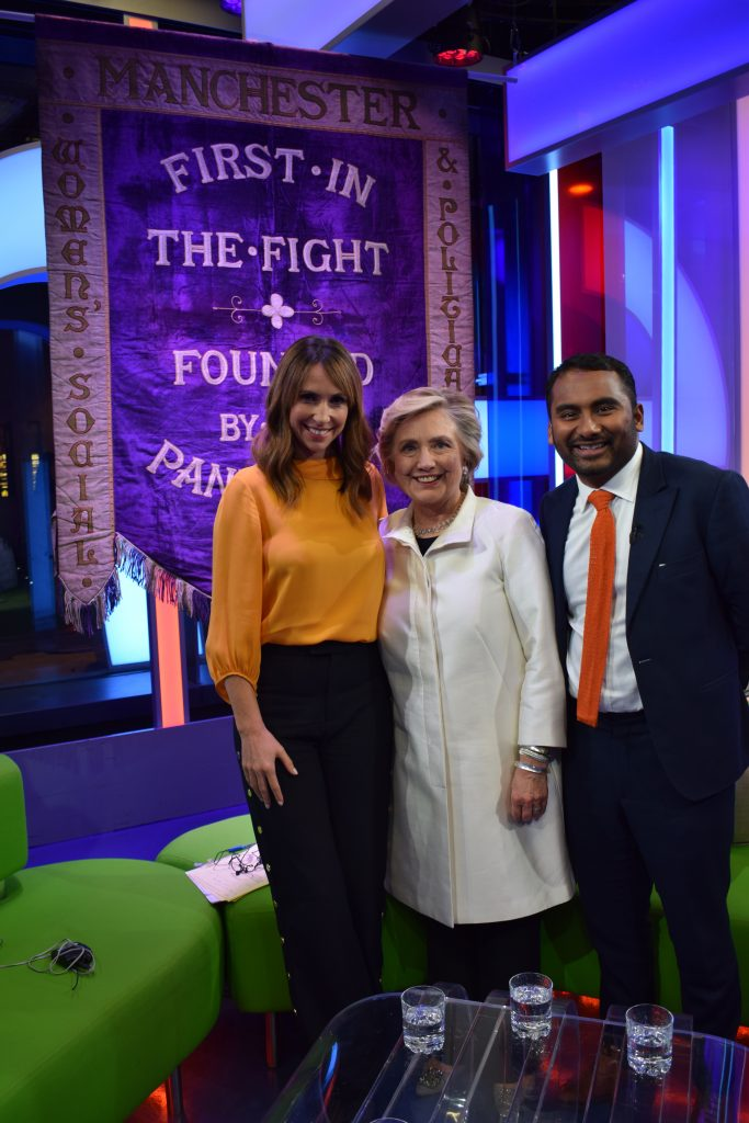 Left to right The Manchester suffragette banner with Alex Jones, Hilary Clinton & Amol Rajan, The One Show