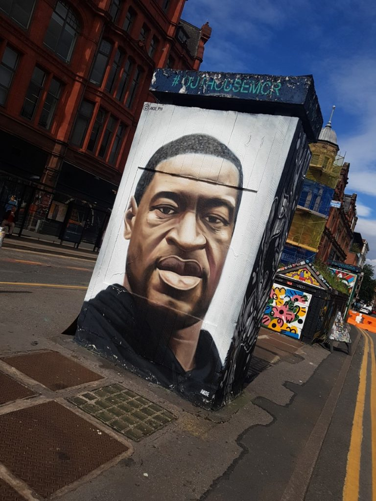 The George Floyd mural in Stevenson Square, Manchester in 2020