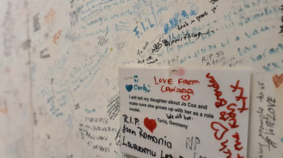 Detail of Jo Cox Memorial Wall at People's History Museum image courtesy of People's History Museum
