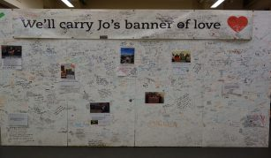 Jo Cox's Memorial Wall, More in Common in memory of Jo Cox exhibition at People's History Museum.