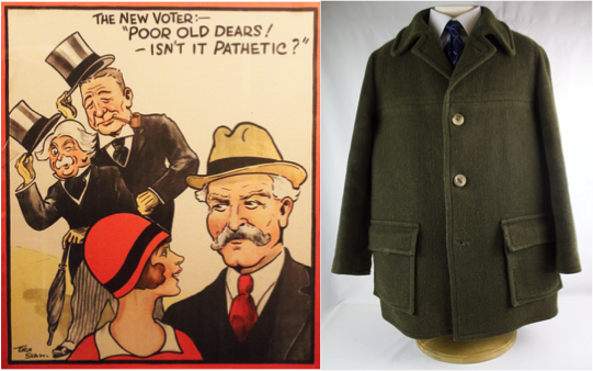 Left to right: The New Voter poster, 1929 & Michael Foot's coat, 1981 © People's History Museum