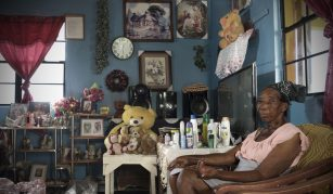 'Staying' put after disaster: life after Hurricane Irma in Barbuda exhibition at People's History Museum. Photo of Mary Frank © Tamzin Forster