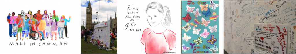 Images from the More in Common: in memory of Jo Cox exhibition. Left to right - More in Common project at PHM, illustration by Danielle Rhoda, Jo Cox Memorial Wall (c) David Holt, Jo Cox @Drue Kataoka, Tributes to Jo Cox from Warwick Road Primary School, Batley, 2016., courtesy of Jo Cox's family & Jo Cox Memorial Wall at People's History Museum