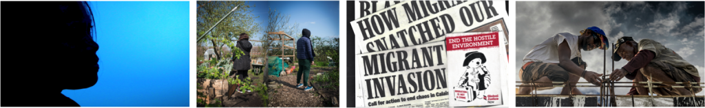 Migration exhibitions at People's History Museum - My Home Is Not My Home, Still from Our Journey © Voice of Domestic Workers, 2019, Left & right Philomene & Hussain, photographs by Caira Leeming, #WELCOME? exhibition and Staying put after disaster, photograph of Romeo Frank ©Tamzin Forster