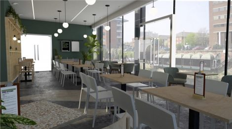 Visual of how Open Kitchen Cafe & Bar at People's History Museum will look
