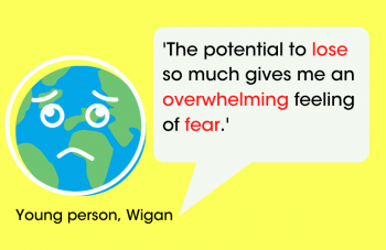 'The potential to lose so much gives me an overwhelming feeling of fear.' Young person, Wigan. Image courtesy of People's History Museum