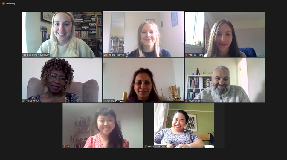 11 August 2021 – 24 April 2022, Migration: a human story, interventions at People's History Museum. Image of Community Programme Team development meeting on Zoom, courtesy of People's History Museum