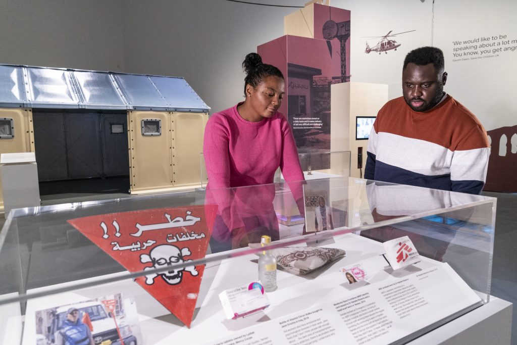 Aid Workers Ethics Under Fire exhibition installation at IWM North