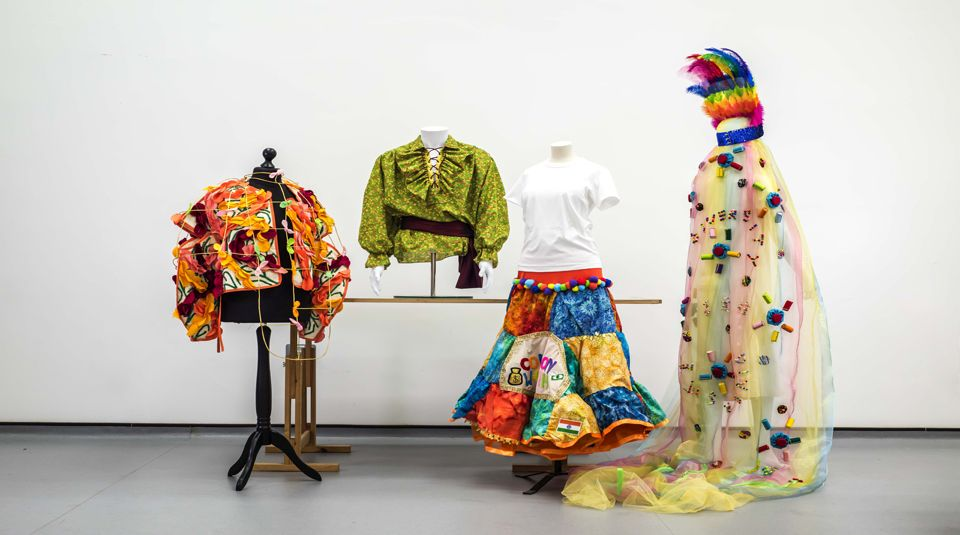 Thriving Flamboyance by Anuarita Morel Pirates of the Colonial Empire by Brett Dearden For Whose Common Wealth? by Chandanpreet Shergill Celebration by Mei Y, all 2021. More in Common: in memory of Jo Cox exhibition at People's History Museum