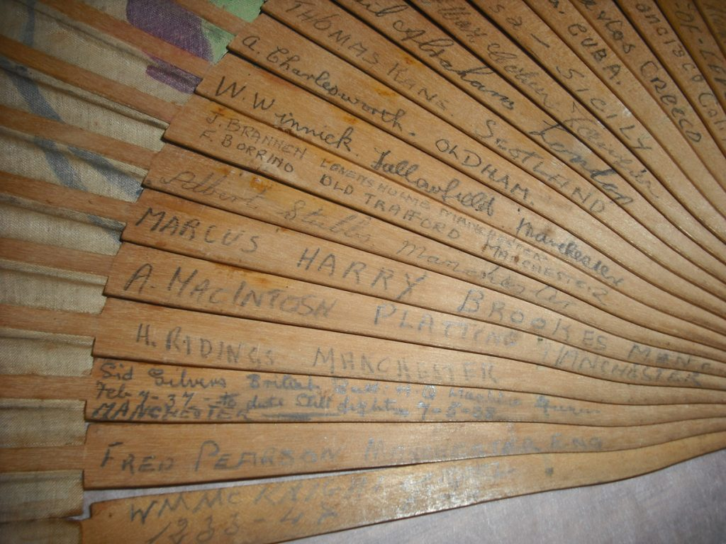 Fan with image of signatures of members of the International Brigade, around 1936. Image courtesy of People's History Museum