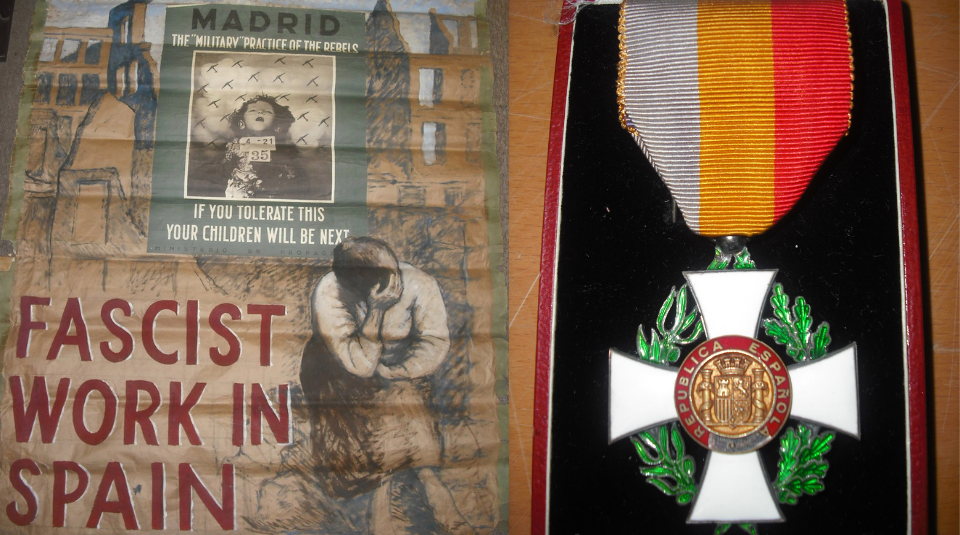 Left to Right - Fascist Work in Spain, hand drawn poster around 1937. Communist Party Collection at People's History Museum& medal of Spanish Republican Government in Exile awarded to Jack Jones. Images courtesy of People's History Museum