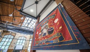Our Yorkshire Rose banner, 2016. Courtesy of Jo Cox's family. More in Common in memory of Jo Cox exhibition at People's History Museum