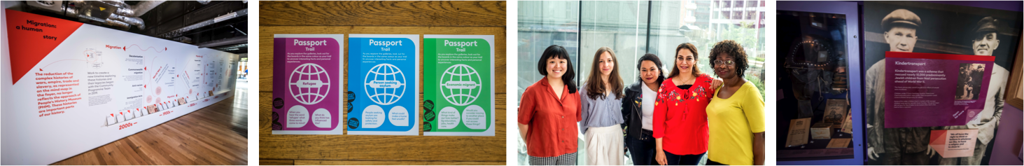 Left to right New timeline, Passport Trails, PHM's Community Programme Team & Gallery intervention. Images courtesy of People's History Museum