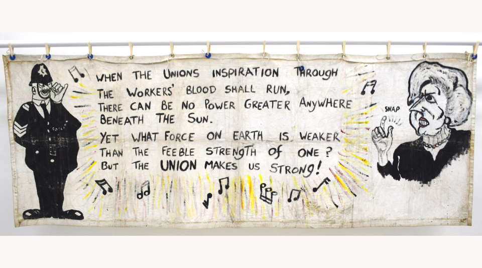 Lesbians & Gays Support The Miners banner, 1984 (reverse) Image courtesy of People's History Museum