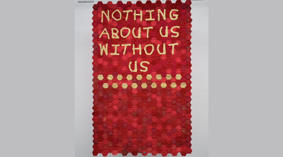 'Nothing About Us Without Us' banner, made by Venture Arts, 2015. Image courtesy of People's History Museum