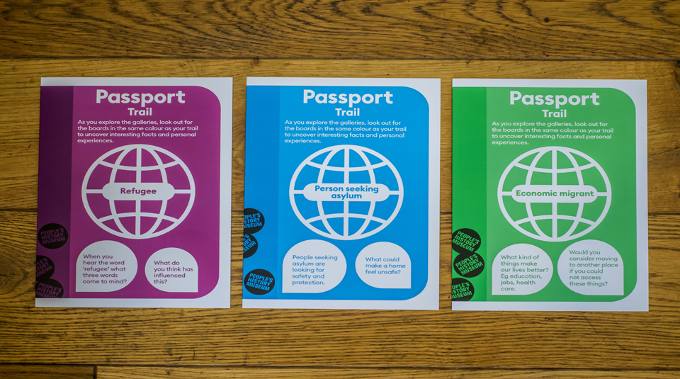 Passport Trails focusing on the experiences a refugee, asylum seeker or economic migrant respectively. Image courtesy of People's History Museum