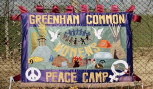 Thurs 2 December 2021, Women For Peace Banners from Greenham Common at People's History Museum. Photograph Greenham Common Womens Peace Camp Banner