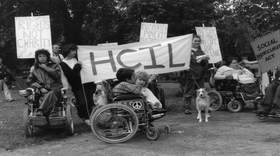 Hampshire Centre for Independent Living banner British Council Of Disabled People demonstration 1988 © People's History Museum